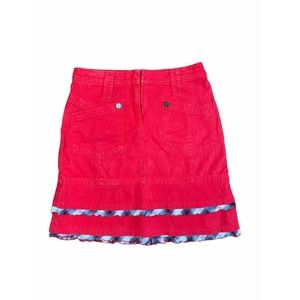 MARC CAIN Red Skirt Buttons Ruffle Plaid Trim